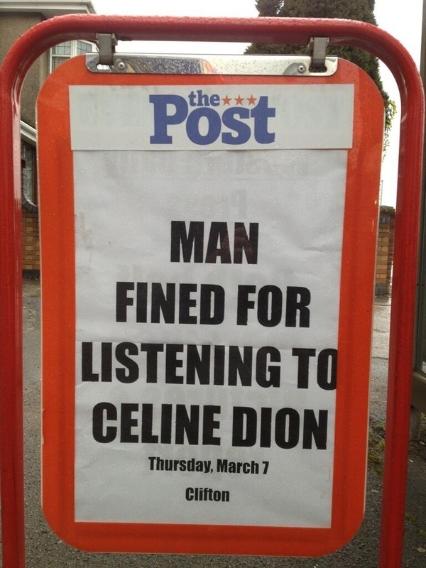The Post - mans fined for listening to Celine Dion