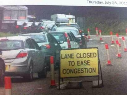 Lane closed to ease congestion