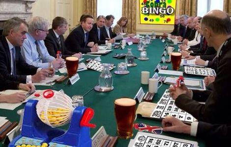 Cabinet playing bingo