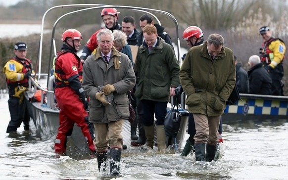 Prince of Wales at flooded  Somerset Levels, 04-02-2014