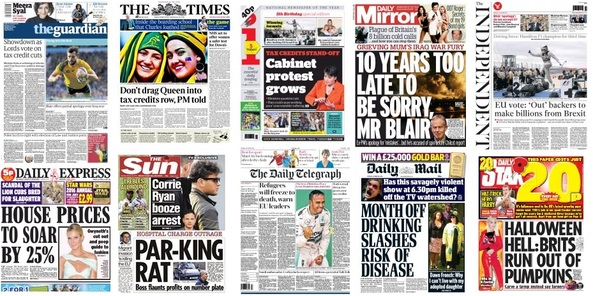 Front pages 26-10-15