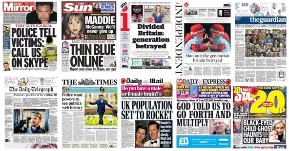 Front pages 30-10-15
