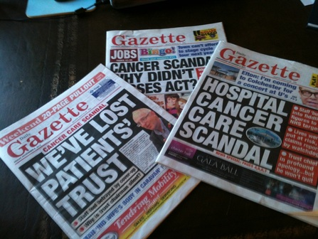 Gazette Colchester hospital front covers