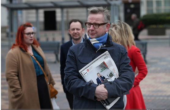 Michael Gove outside Labour spring conference